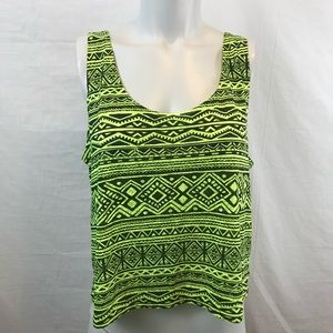 Forever 21 Sheer Lime Yellow Tribal Print Tank Top